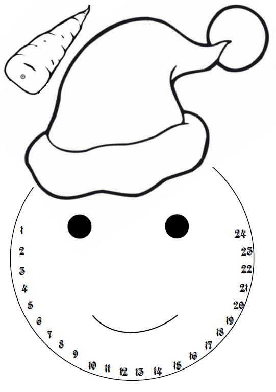 Calendrier de l 39 avent - Modele bonhomme de neige ...
